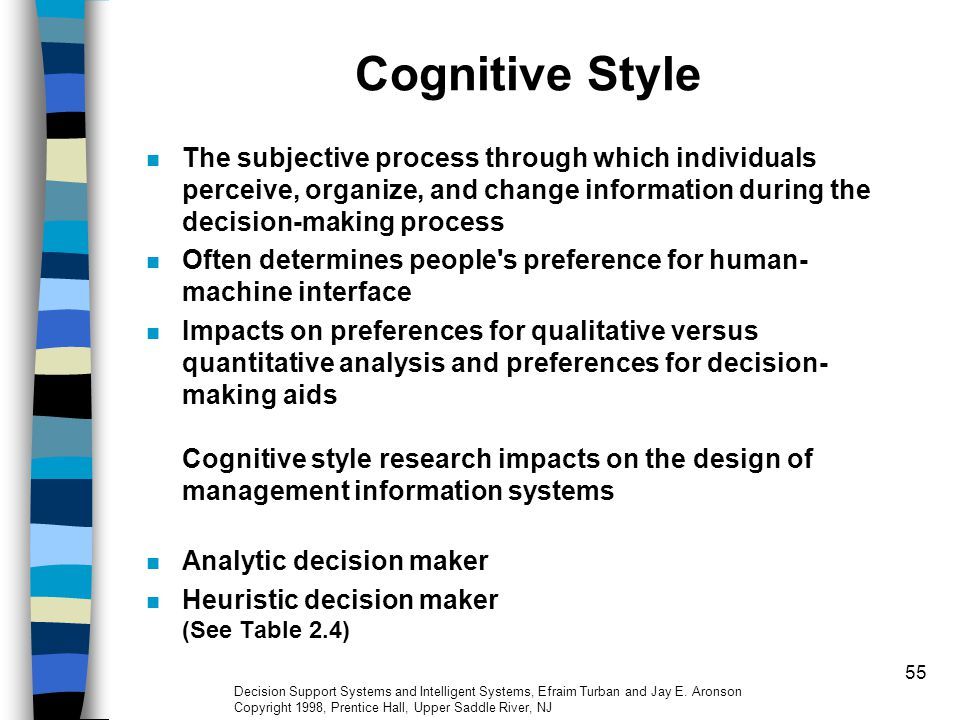 55 Cognitive Style The subjective process through which individuals perceive, organize, and change information during the decision-making process Ofte