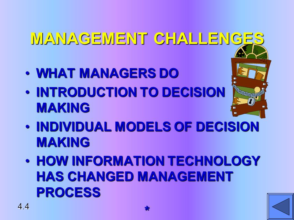 MANAGEMENT CHALLENGES WHAT MANAGERS DOWHAT MANAGERS DO INTRODUCTION TO DECISION MAKINGINTRODUCTION TO DECISION MAKING INDIVIDUAL MODELS OF DECISION MAKINGINDIVIDUAL MODELS OF DECISION MAKING HOW INFORMATION TECHNOLOGY HAS CHANGED MANAGEMENT PROCESSHOW INFORMATION TECHNOLOGY HAS CHANGED MANAGEMENT PROCESS* 4.4