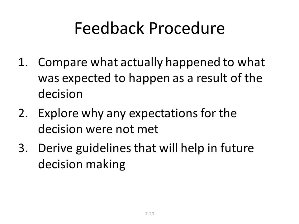 Feedback Procedure 1.Compare what actually happened to what was expected to happen as a result of the decision 2.Explore why any expectations for the