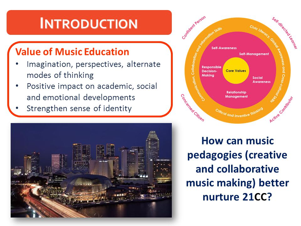I NTRODUCTION Value of Music Education Imagination, perspectives, alternate modes of thinking Positive impact on academic, social and emotional develo