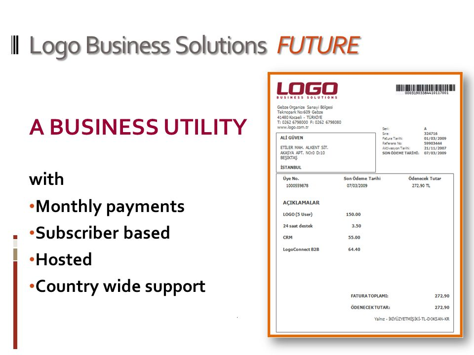 Logo Business Solutions FUTURE A BUSINESS UTILITY with Monthly payments Subscriber based Hosted Country wide support