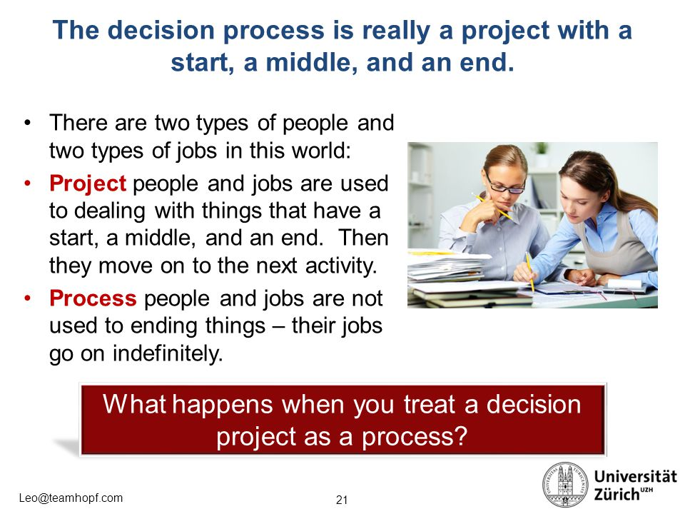 21 Leo@teamhopf.com The decision process is really a project with a start, a middle, and an end. There are two types of people and two types of jobs i