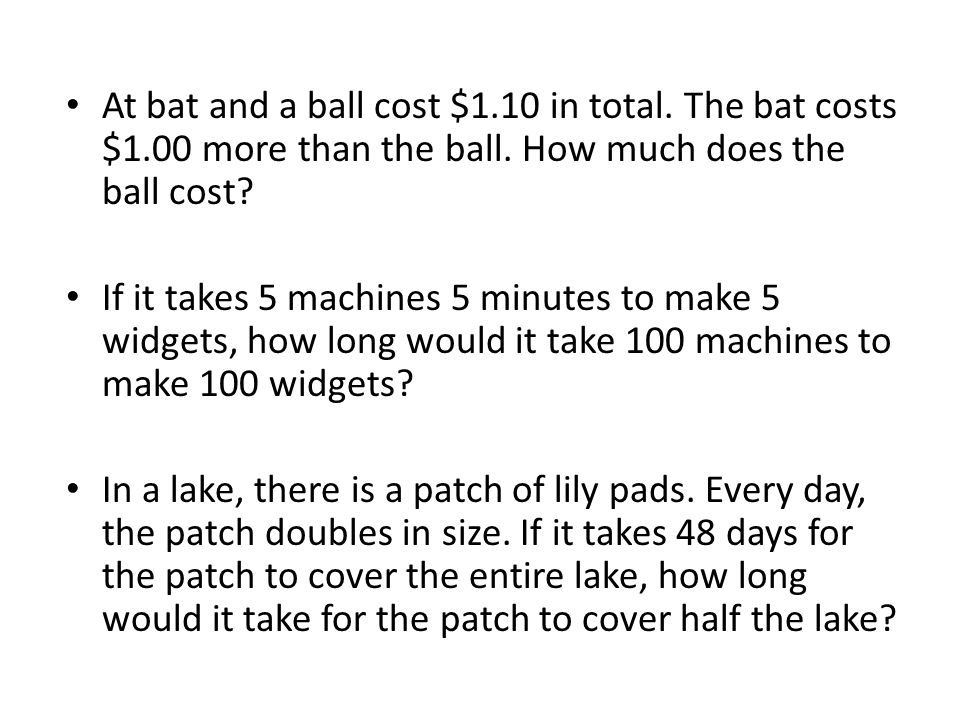 At bat and a ball cost $1.10 in total. The bat costs $1.00 more than the ball.