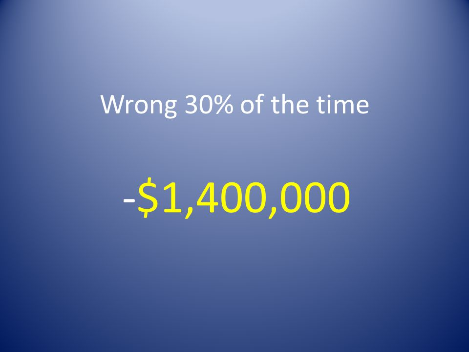 Wrong 30% of the time -$1,400,000
