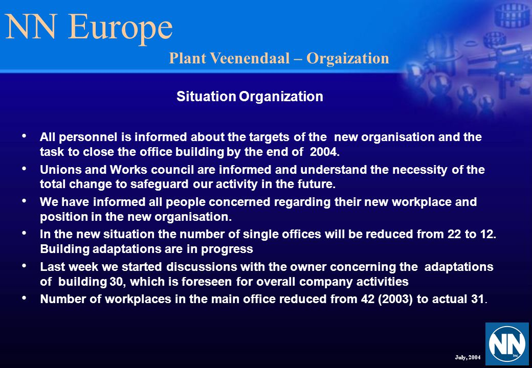 NN Europe July, 2004 Situation Organization All personnel is informed about the targets of the new organisation and the task to close the office building by the end of 2004.