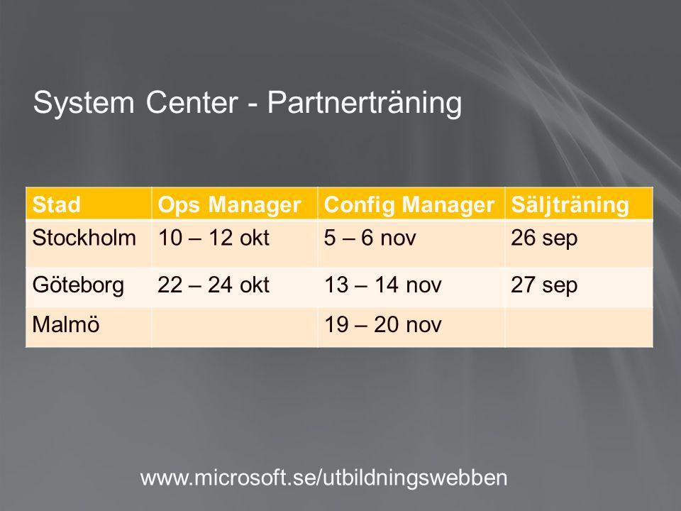 StadOps ManagerConfig ManagerSäljträning Stockholm10 – 12 okt5 – 6 nov26 sep Göteborg22 – 24 okt13 – 14 nov27 sep Malmö19 – 20 nov System Center - Partnerträning www.microsoft.se/utbildningswebben