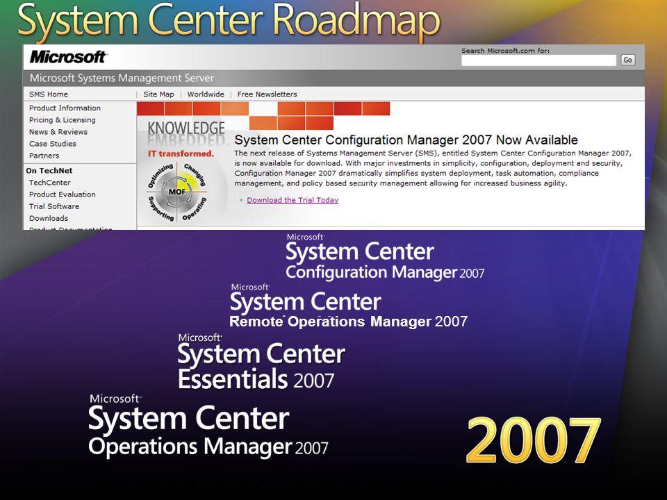 Remote Operations Manager 2007 http://www.microsoft.com/systemcenter/scvmm/default.mspx SC VMM har RTM:at 10 Sep: Trial Download 1 Okt: Tillgänglig för VL kunder