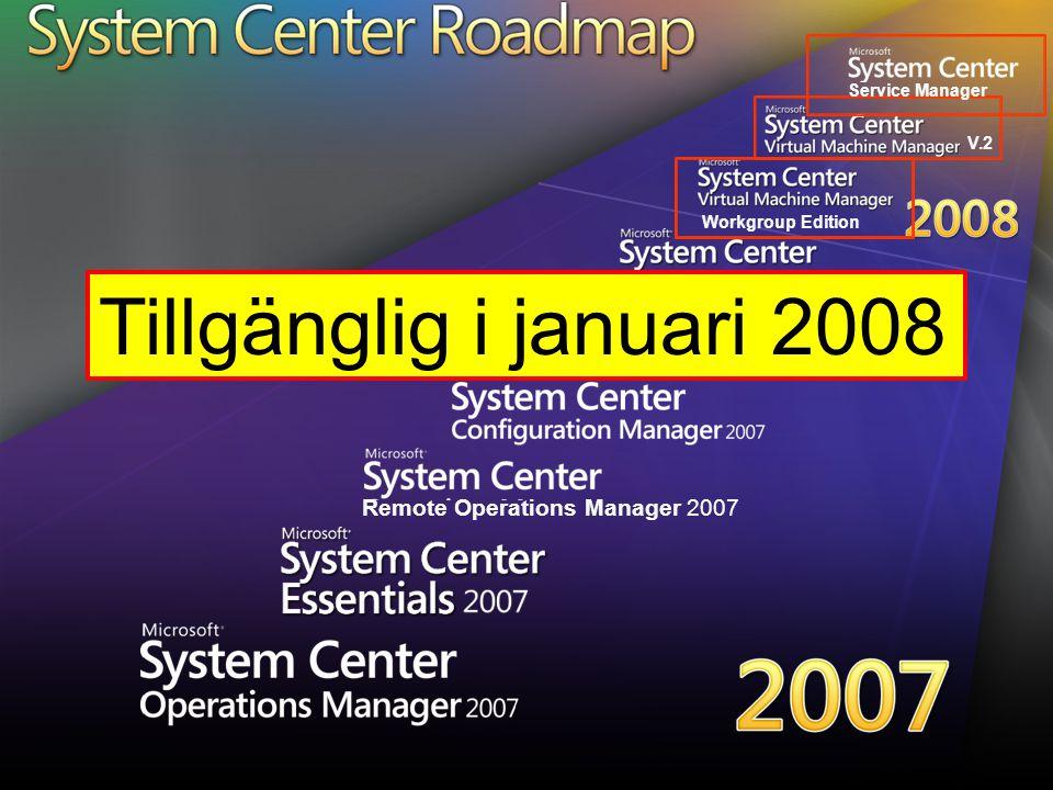 Workgroup Edition V.2 Service Manager Tillgänglig i januari 2008