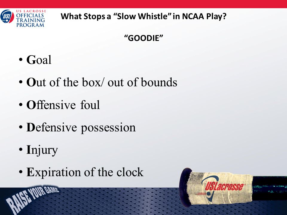 What Stops a Slow Whistle in NCAA Play.