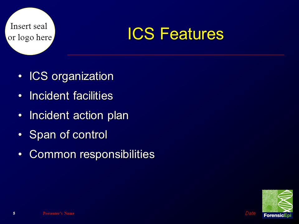 Insert seal or logo here Date 5Presenter's Name ICS Features ICS organizationICS organization Incident facilitiesIncident facilities Incident action p