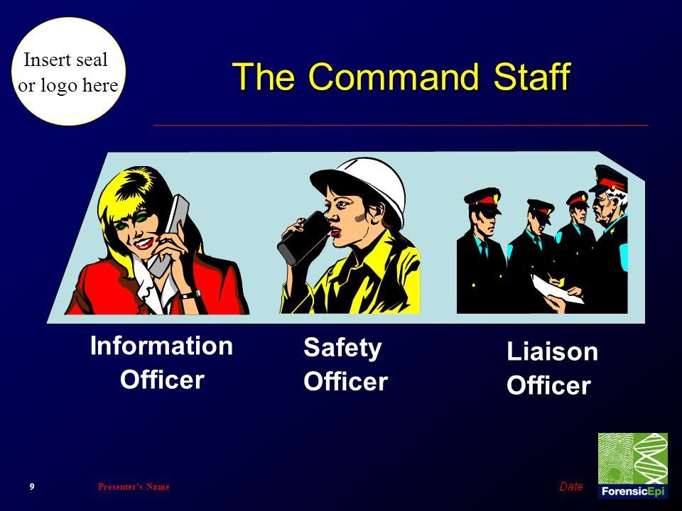 Insert seal or logo here Date 9Presenter's Name The Command Staff Information Officer Safety Officer Liaison Officer