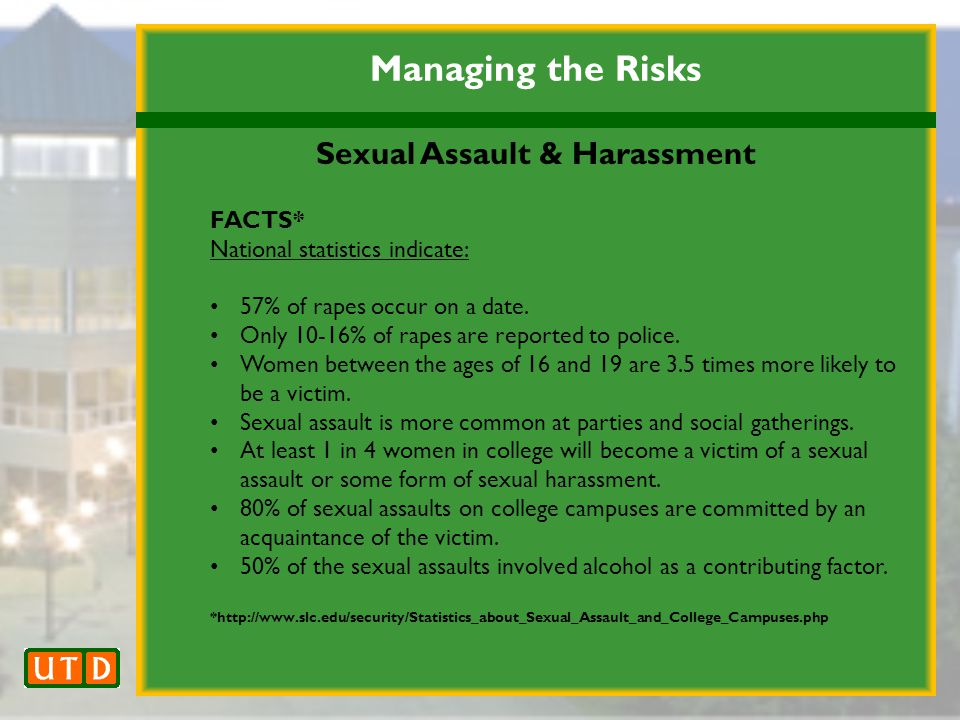 Managing the Risks Sexual Assault & Harassment FACTS* National statistics indicate: 57% of rapes occur on a date.