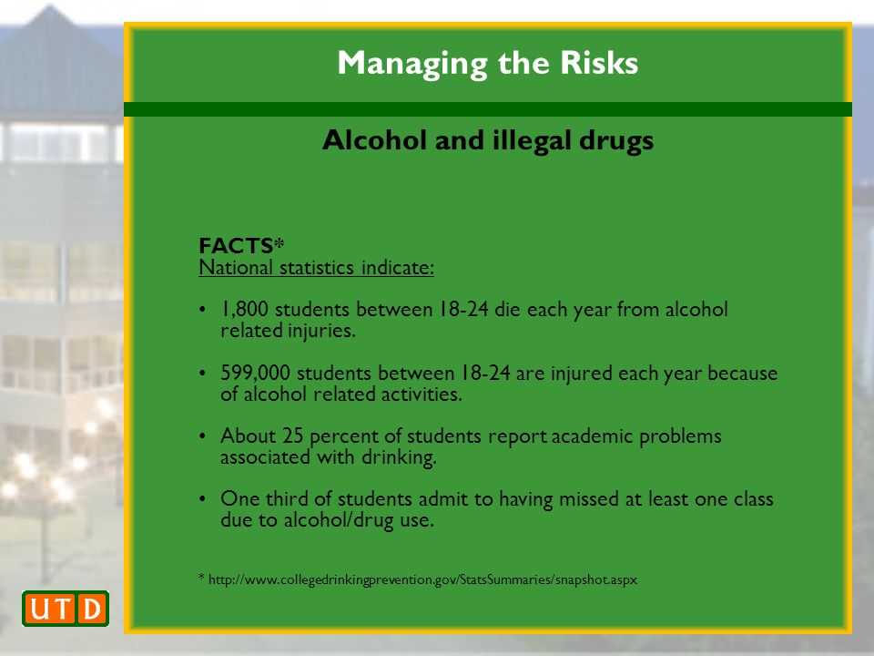 Managing the Risks Alcohol and illegal drugs FACTS* National statistics indicate: 1,800 students between 18-24 die each year from alcohol related injuries.