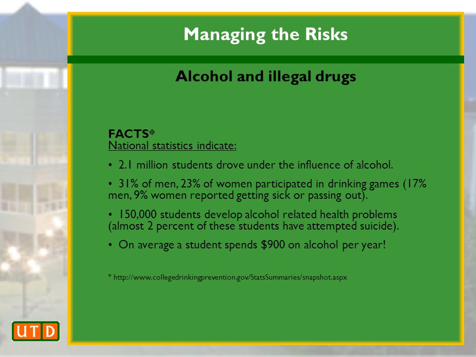 Managing the Risks Alcohol and illegal drugs FACTS* National statistics indicate: 2.1 million students drove under the influence of alcohol.