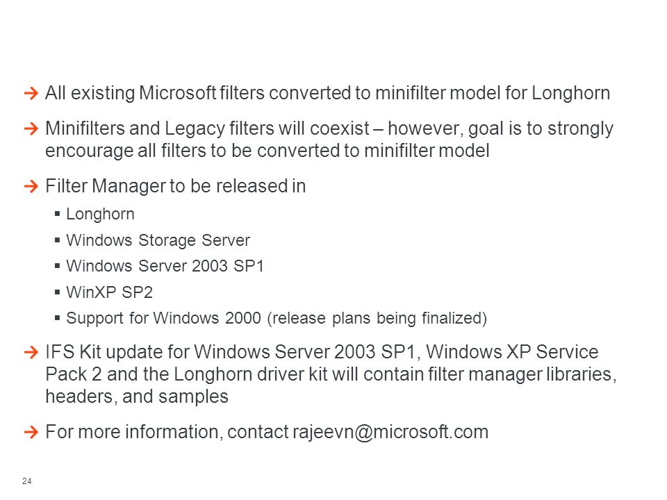24 Project Status / Release Plan / Miscellaneous All existing Microsoft filters converted to minifilter model for Longhorn Minifilters and Legacy filt