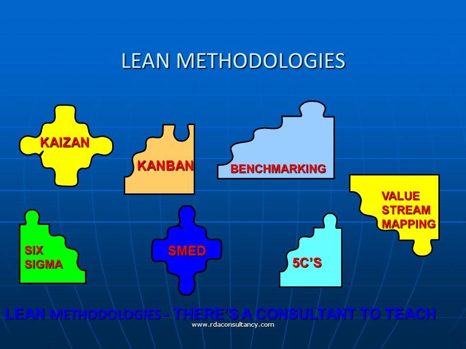 www.rdaconsultancy.com LEAN METHODOLOGIES KAIZAN KANBAN BENCHMARKING VALUESTREAMMAPPING SIX SIGMA 5C'S SMED LEAN METHODOLOGIES - THERE'S A CONSULTANT TO TEACH