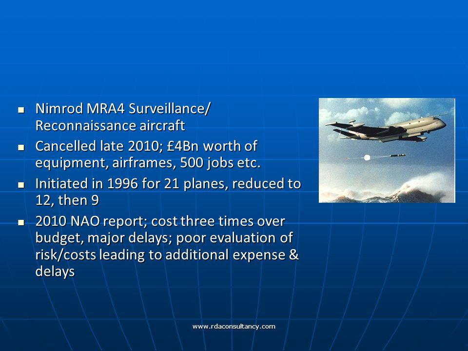 www.rdaconsultancy.com Nimrod MRA4 Surveillance/ Reconnaissance aircraft Nimrod MRA4 Surveillance/ Reconnaissance aircraft Cancelled late 2010; £4Bn worth of equipment, airframes, 500 jobs etc.