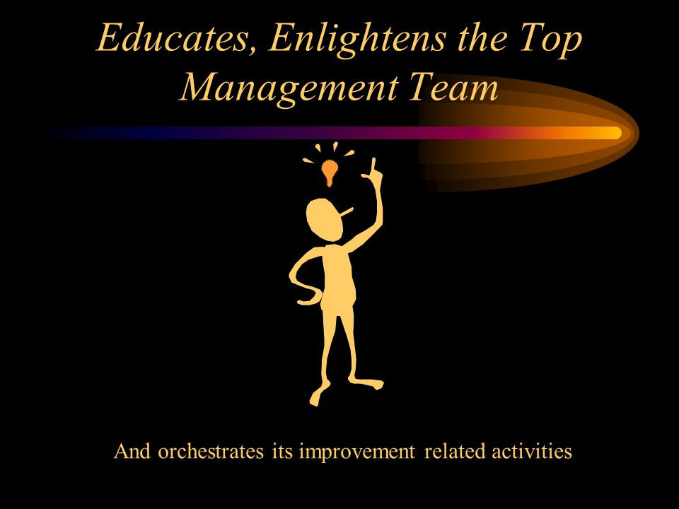 Educates, Enlightens the Top Management Team And orchestrates its improvement related activities
