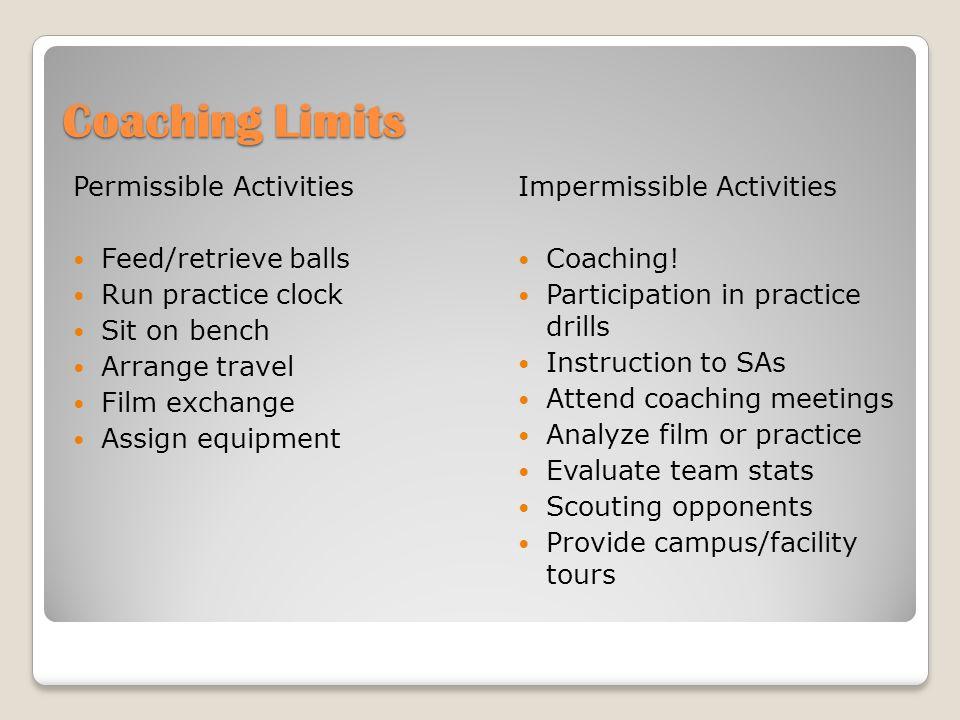 Coaching Limits Permissible Activities Feed/retrieve balls Run practice clock Sit on bench Arrange travel Film exchange Assign equipment Impermissible Activities Coaching.