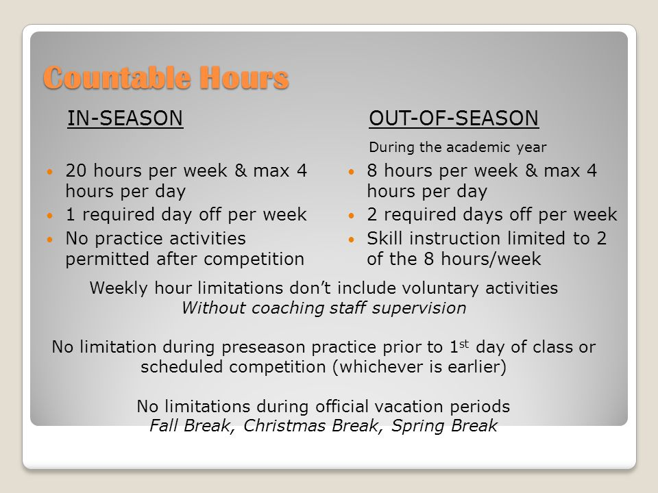 Countable Hours CountableNon-Countable Practice – 4 hrs per day Ath meetings with a coach initiated by a coach Competition - counts as 3 hours Required weight training Discussion/review of film Set-up of offensive/defensive alignments Compliance meetings Meetings with a coach initiated by SA Study hall, tutoring Voluntary weight training not conducted by staff Team travel Training room activities Voluntary sport activities (no coach, no attendance)