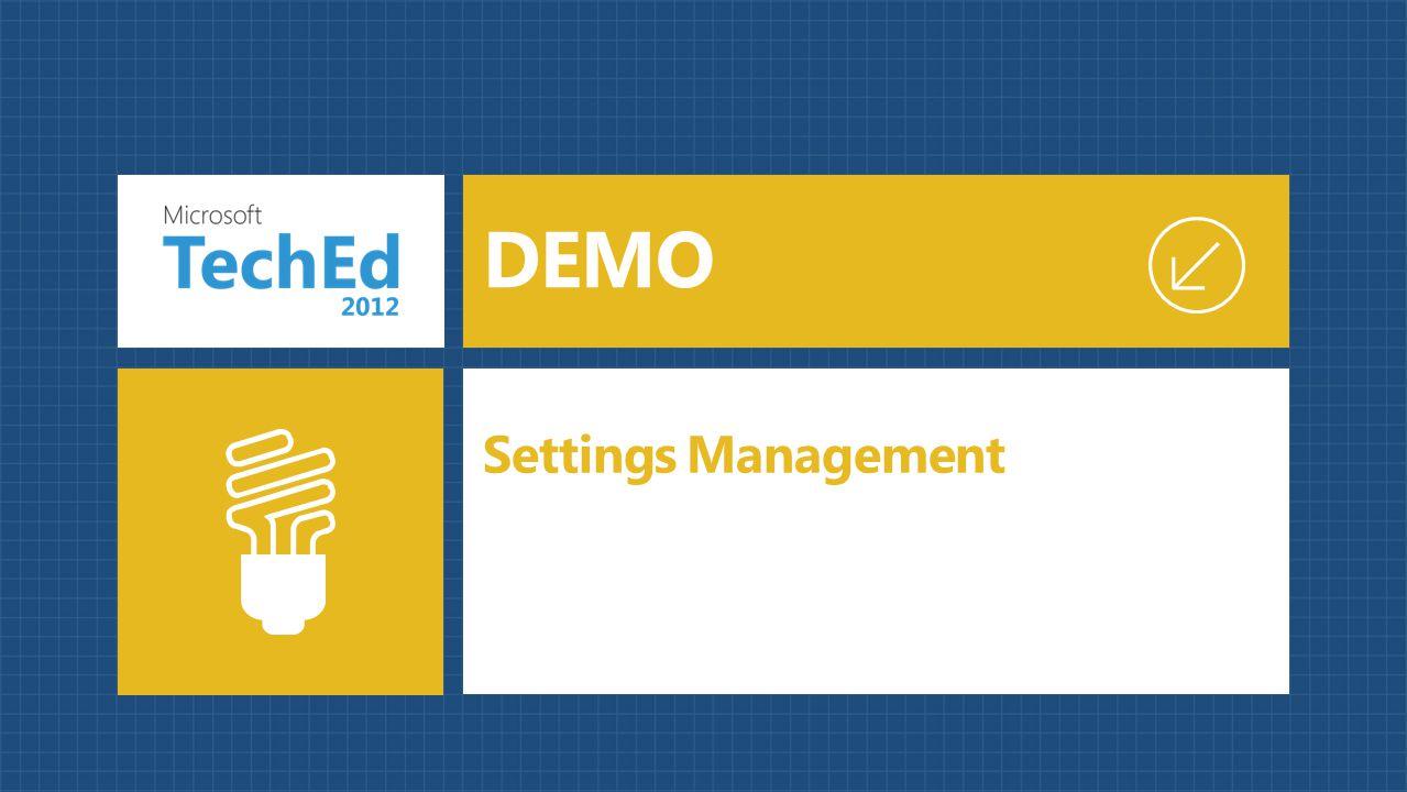 Settings Management DEMO
