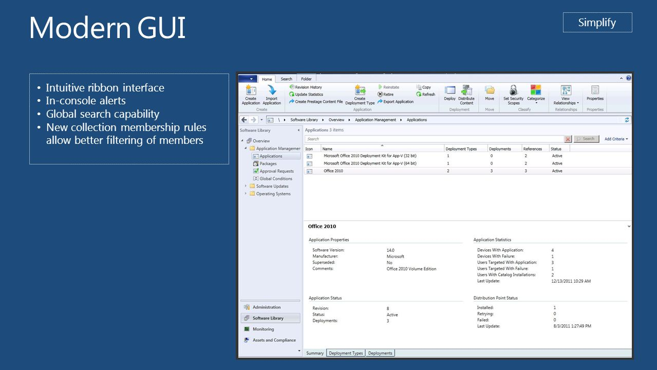 Modern GUI Simplify Intuitive ribbon interface In-console alerts Global search capability New collection membership rules allow better filtering of members