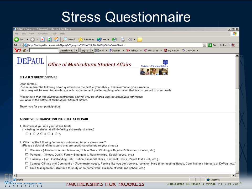Managing Student Relationships (CRM) to Drive Retention25 Stress Questionnaire