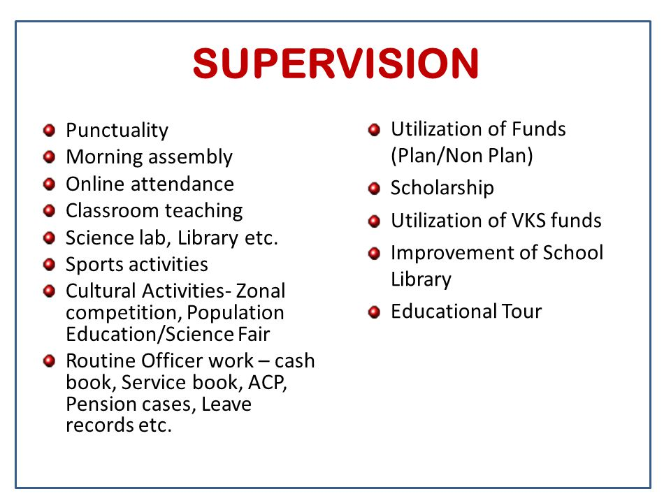SUPERVISION Punctuality Morning assembly Online attendance Classroom teaching Science lab, Library etc. Sports activities Cultural Activities- Zonal c