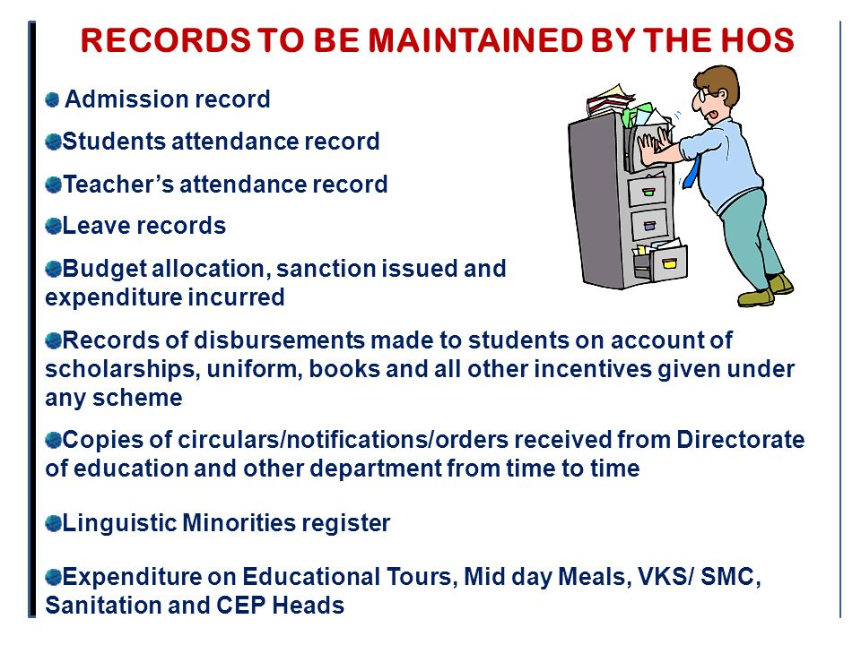 RECORDS TO BE MAINTAINED BY THE HOS Admission record Students attendance record Teacher's attendance record Leave records Budget allocation, sanction