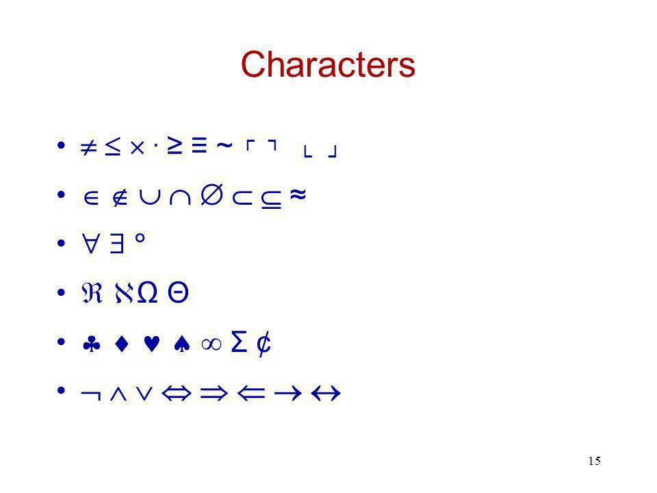 15 Characters   . ≥ ≡ ~ ┌ ┐ └ ┘        ≈      Ω Θ     Σ ¢        