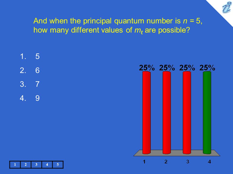 And when the principal quantum number is n = 5, how many different values of m ℓ are possible.