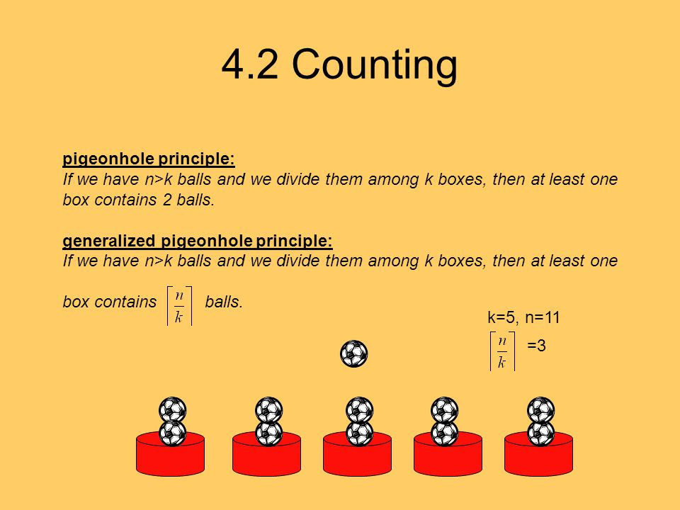 4.2 Counting pigeonhole principle: If we have n>k balls and we divide them among k boxes, then at least one box contains 2 balls. generalized pigeonho