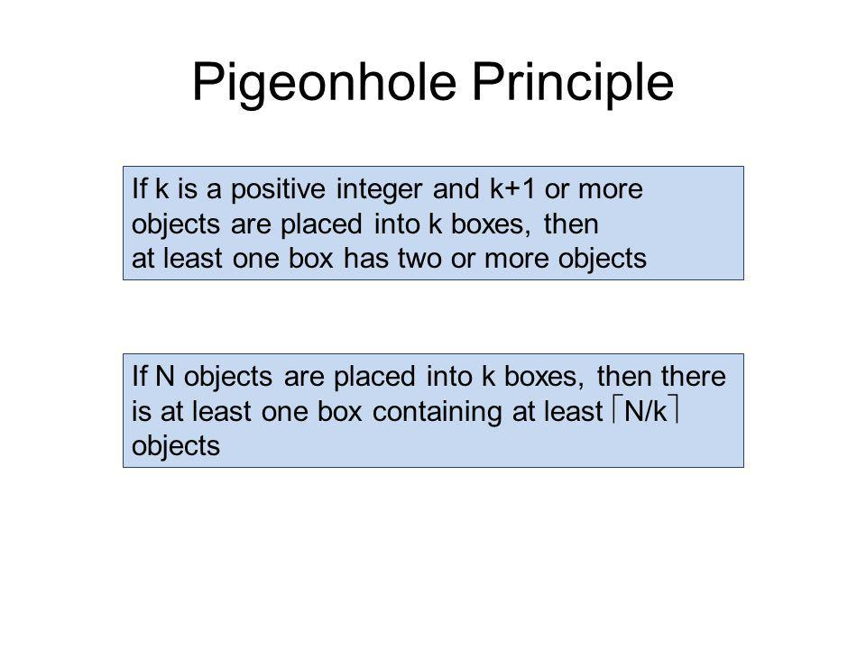 Pigeonhole Principle If k is a positive integer and k+1 or more objects are placed into k boxes, then at least one box has two or more objects If N objects are placed into k boxes, then there is at least one box containing at least  N/k  objects