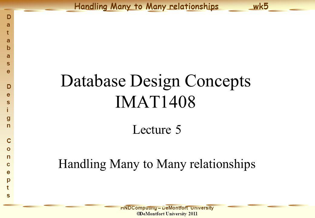 HNDComputing – DeMontfort University  DeMontfort University 2011 Handling Many to Many relationships wk5 Database Design ConceptsDatabase Design Concepts 12 Identifiers cont.