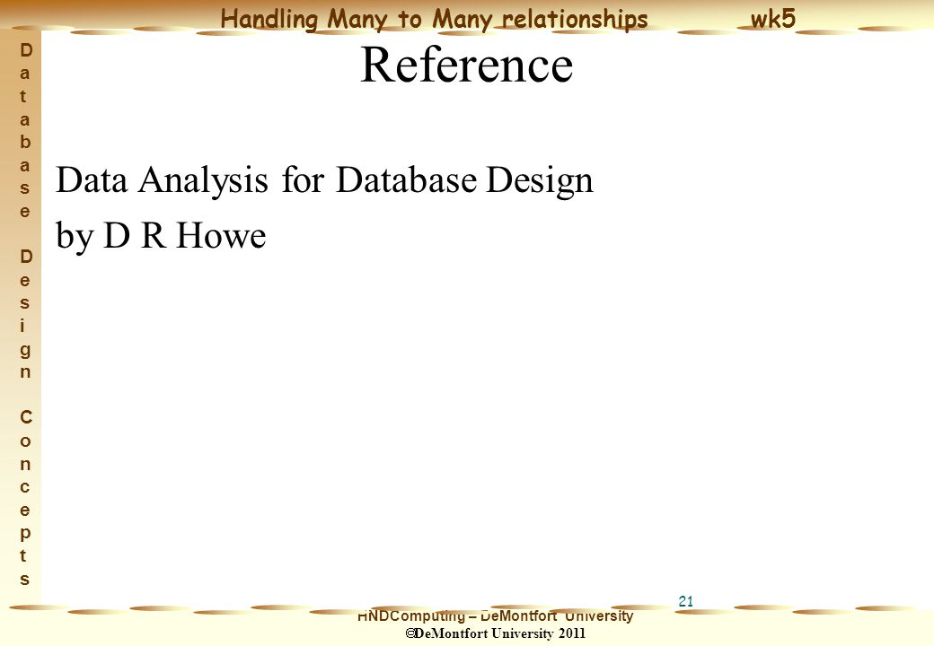 HNDComputing – DeMontfort University  DeMontfort University 2011 Handling Many to Many relationships wk5 Database Design ConceptsDatabase Design Concepts 21 Reference Data Analysis for Database Design by D R Howe