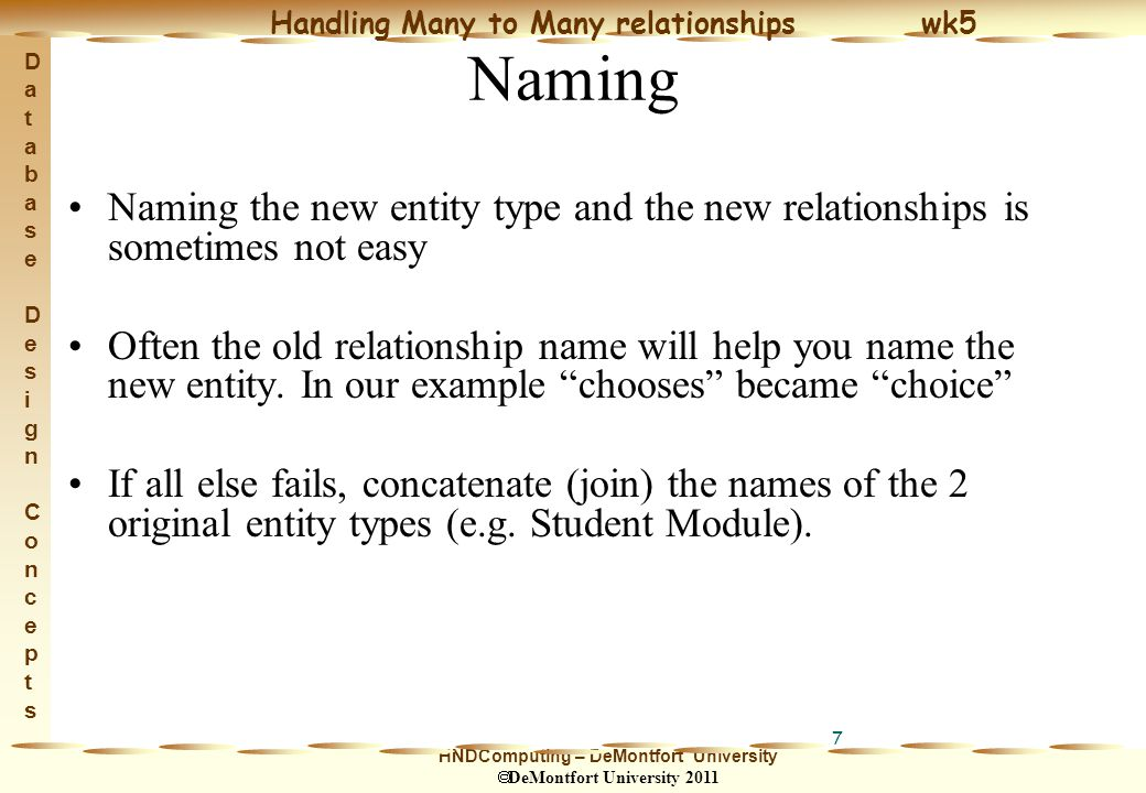 HNDComputing – DeMontfort University  DeMontfort University 2011 Handling Many to Many relationships wk5 Database Design ConceptsDatabase Design Concepts 18 Exercise Actor (actor#, name,...) Film (film#, title,...) Decompose this M:M relationship Assign the new entity type an appropriate name and think of some additional attributes for it Assign the new entity type a suitable identifier.
