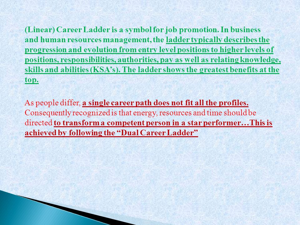 (Linear) Career Ladder is a symbol for job promotion. In business and human resources management, the ladder typically describes the progression and e