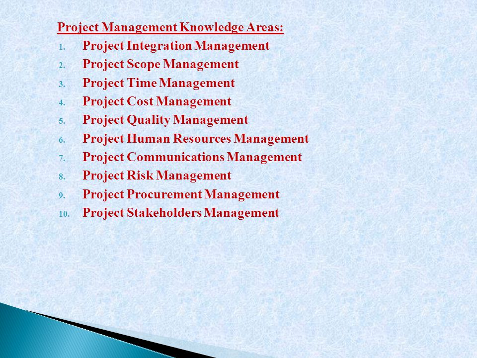 Project Management Knowledge Areas: 1. Project Integration Management 2. Project Scope Management 3. Project Time Management 4. Project Cost Managemen