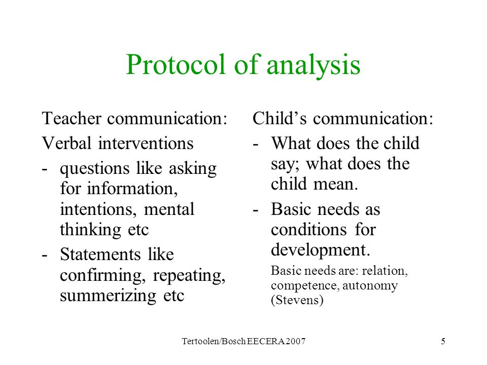Tertoolen/Bosch EECERA 20075 Protocol of analysis Teacher communication: Verbal interventions -questions like asking for information, intentions, ment