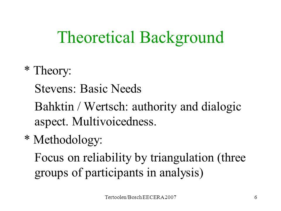 Tertoolen/Bosch EECERA 20076 Theoretical Background * Theory: Stevens: Basic Needs Bahktin / Wertsch: authority and dialogic aspect. Multivoicedness.