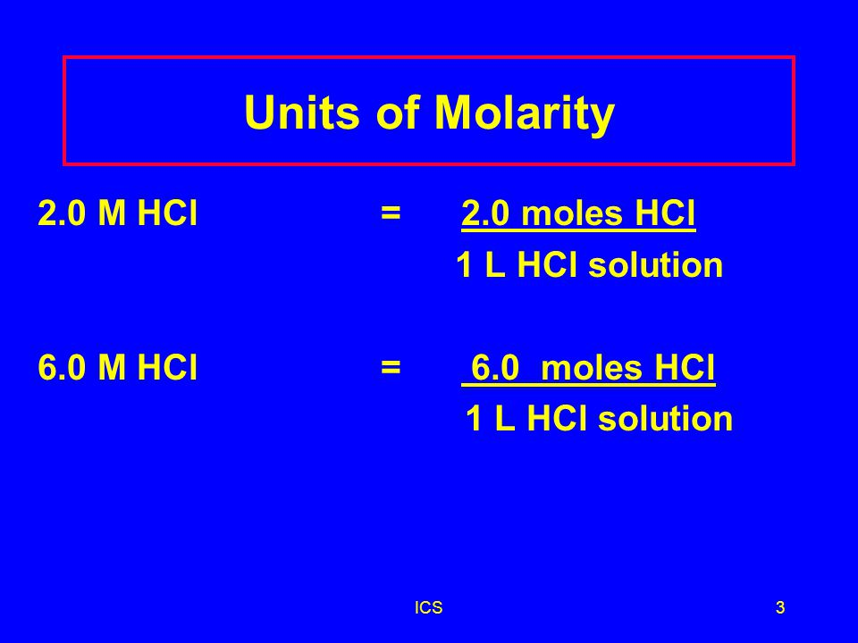 ICS2 Molarity (M) A concentration that expresses the moles of solute in 1 L of solution Molarity (M) = moles of solute 1 litre solution