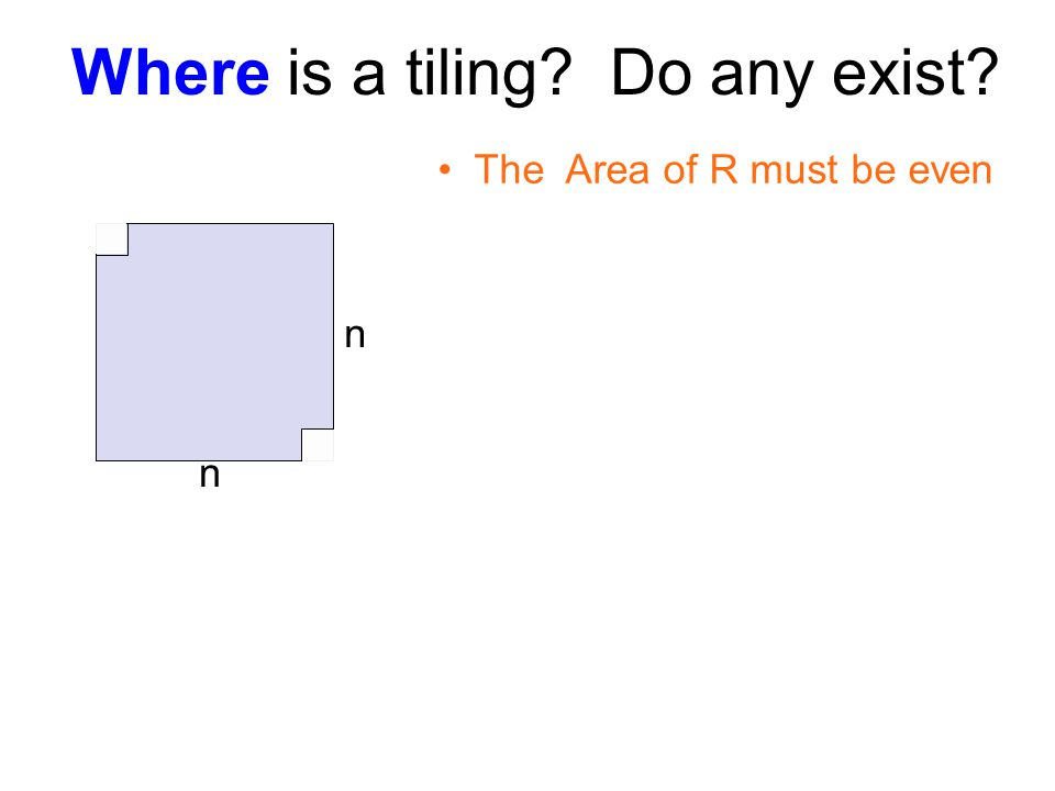Where is a tiling Do any exist The Area of R must be even n n