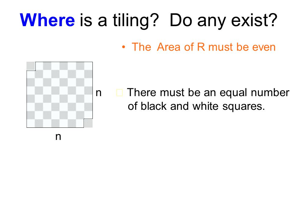 Where is a tiling. Do any exist. n n ★ There must be an equal number of black and white squares.