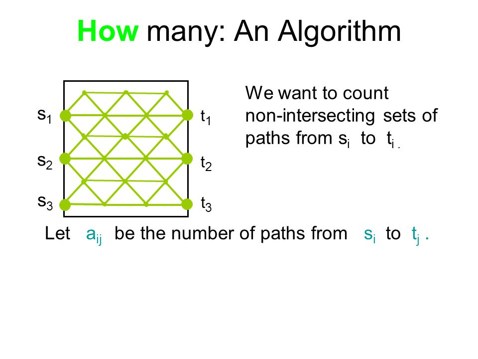 How many: An Algorithm We want to count non-intersecting sets of paths from s i to t i.
