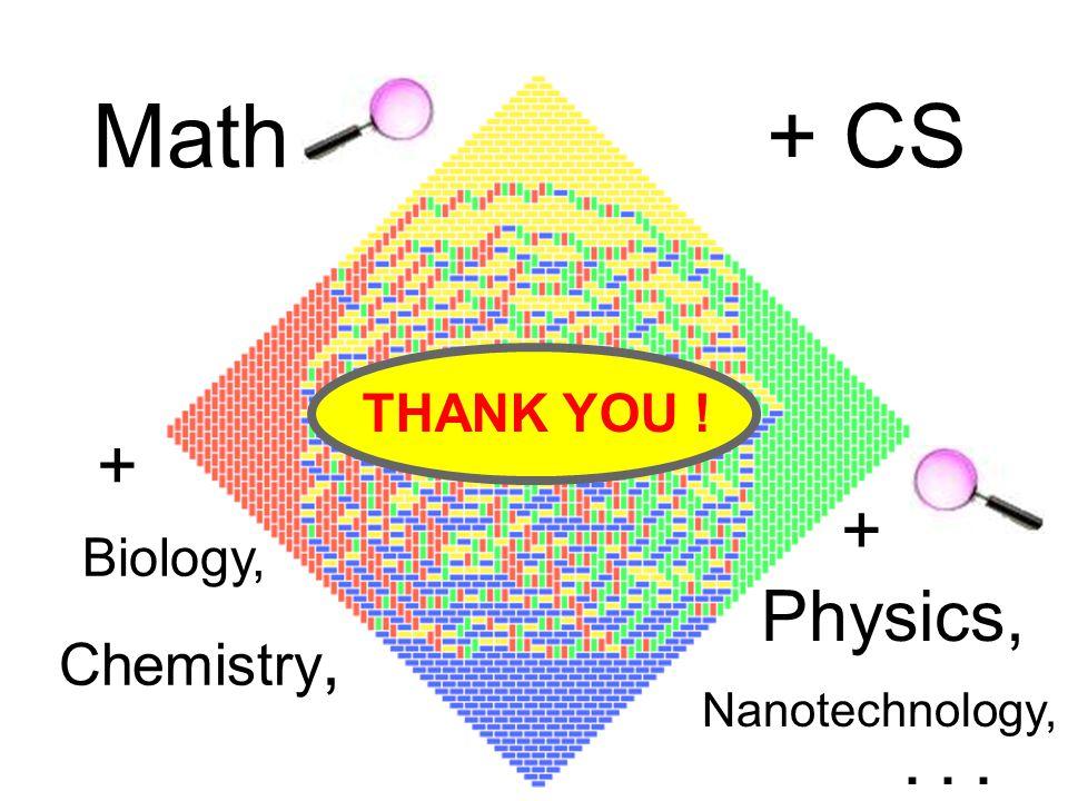 THANK YOU ! + Physics, Nanotechnology,... Math+ CS + Biology, Chemistry,