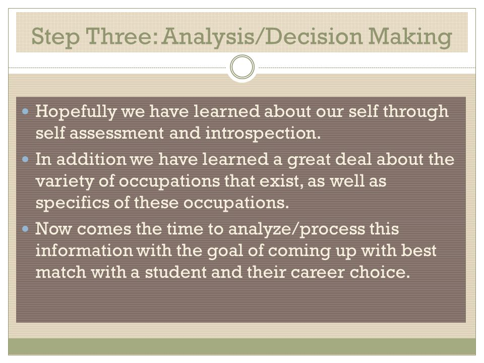 Step Three: Analysis/Decision Making Hopefully we have learned about our self through self assessment and introspection.