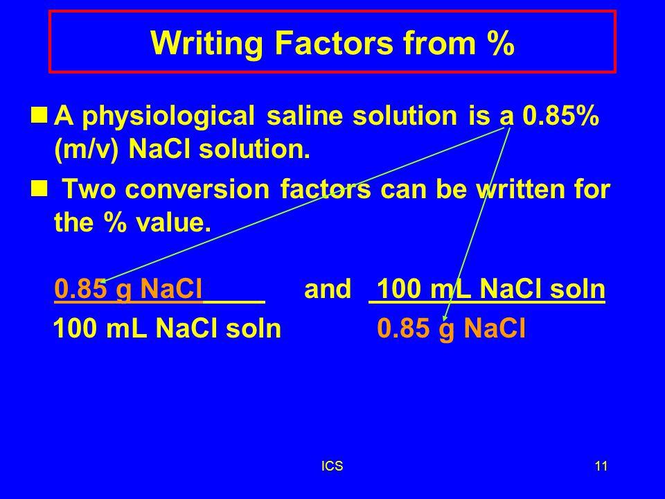 ICS10 Solution PC2 1) 5.0% %(m/v) = 25 g glucose x 100 500.