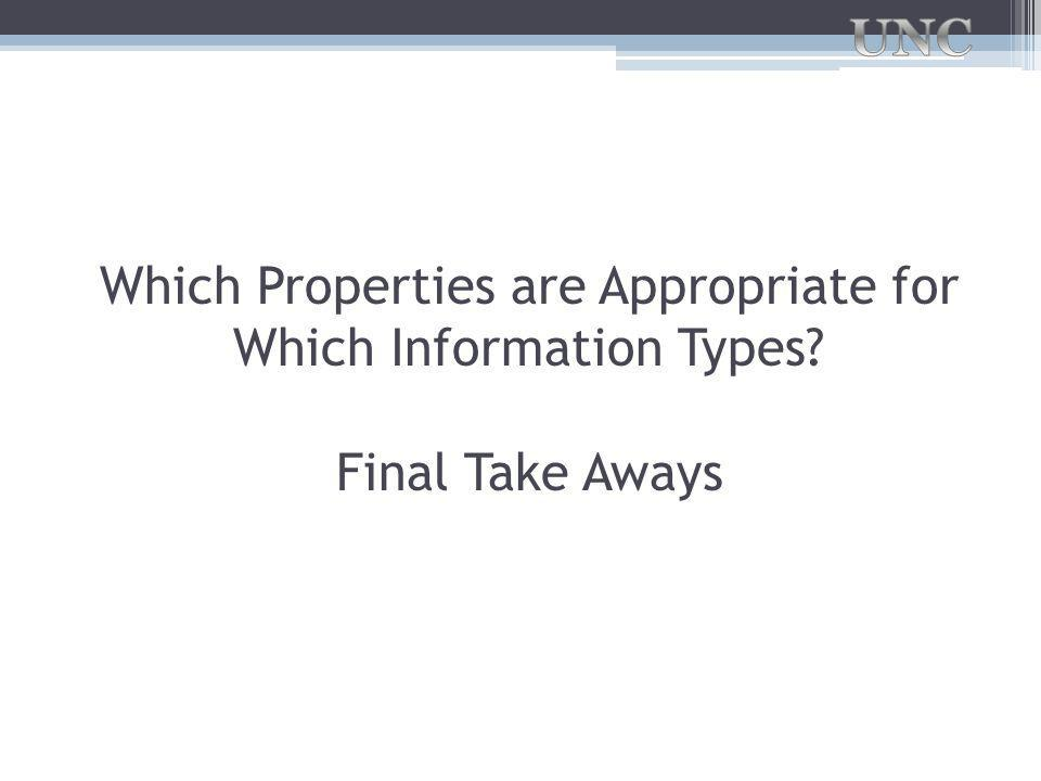 Which Properties are Appropriate for Which Information Types Final Take Aways