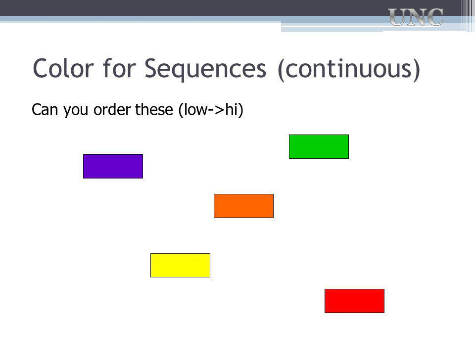 Color for Sequences (continuous) Can you order these (low->hi)