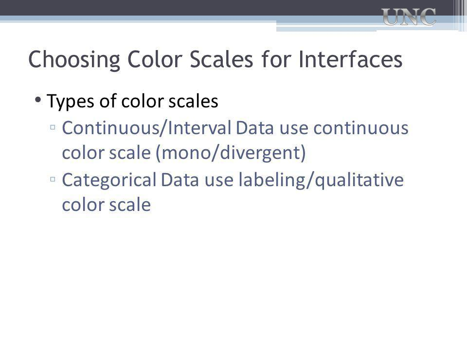 Choosing Color Scales for Interfaces Types of color scales ▫ Continuous/Interval Data use continuous color scale (mono/divergent) ▫ Categorical Data use labeling/qualitative color scale